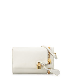 Alix Small Fold-Over Crossbody Bag, White