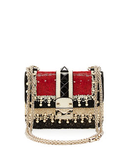 Mini Embellished Shoulder Bag, Ivory/Black/Red