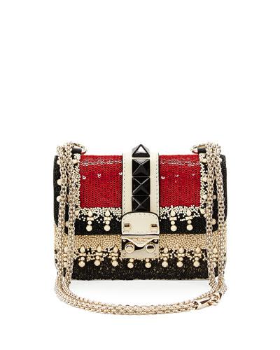 Mini Embellished Shoulder Bag, Ivory/Black/Red