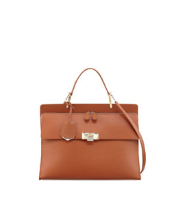 Le Dix Cartable Zip Satchel Bag, Brown