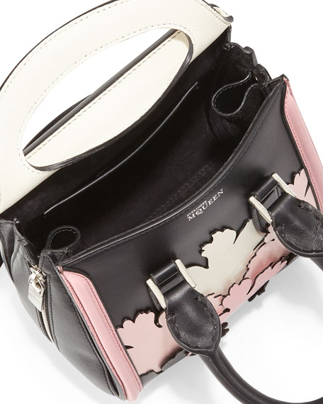 Heroine Mini Cutout Satchel Bag, Black/Pink/White