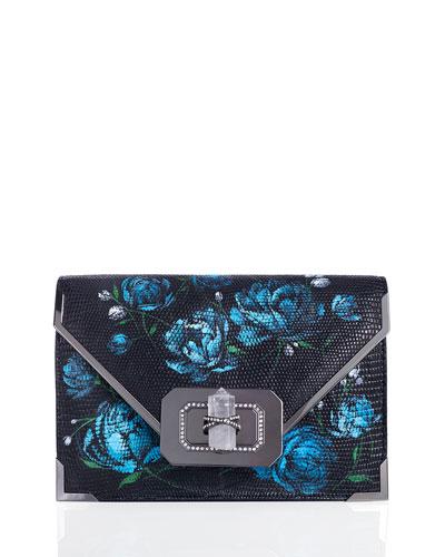 Valentina Floral Lizard Envelope Clutch Bag, Blue
