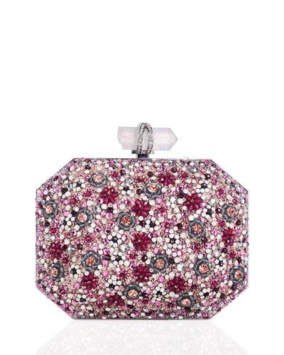 Iris Beaded Box Clutch Bag, Pink