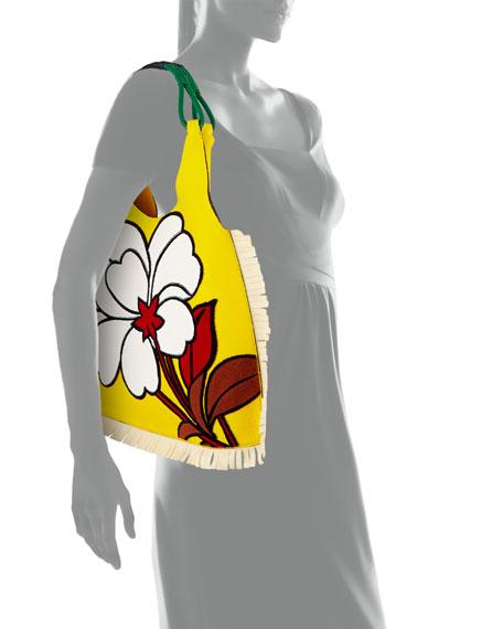 Floral-Pattern Fringe Hobo Bag