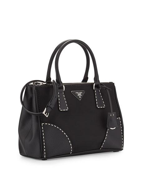 prada mens wallet blue - Prada Tessuto and Saffiano Stitch Tote Bag, Black (Nero)