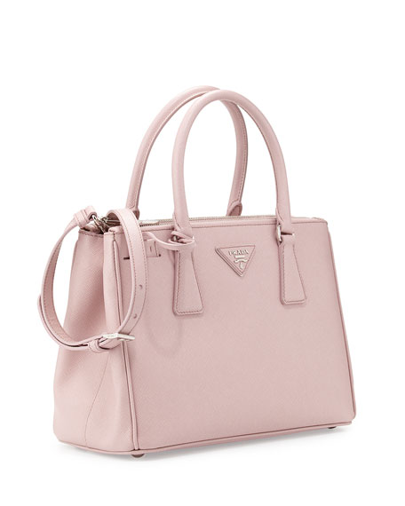 Saffiano Lux Double Zip Tote Bag Light Pink Mughetto
