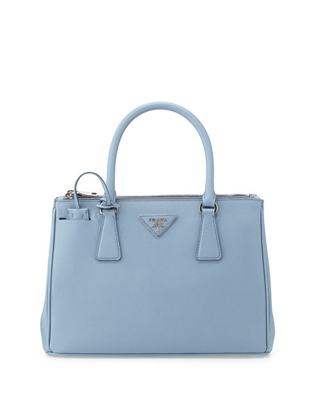 Saffiano Lux Double-Zip Tote Bag, Light Blue (Astrale)