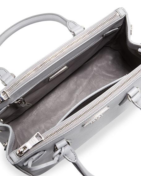 Saffiano Lux Double-Zip Tote Bag, Light Gray (Gratino)