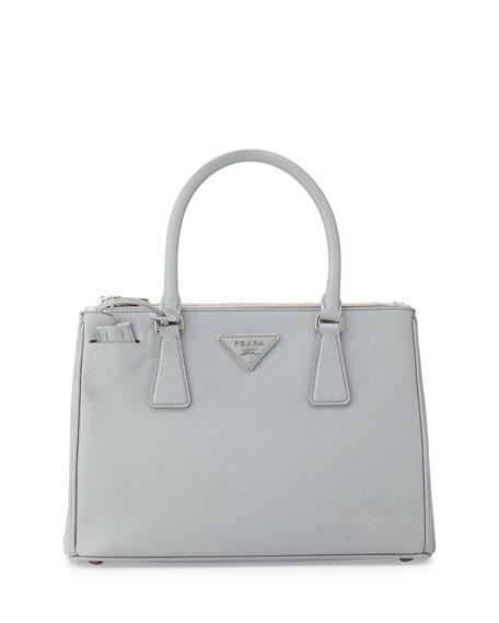 Saffiano Lux Double-Zip Tote Bag, Light Gray (Gratino)