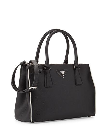 Saffiano Lux Double-Zip Tote Bag, Black/White (Nero+Talco)