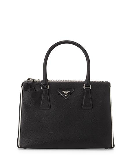 d614f6954703 Prada Saffiano Lux Double-Zip Tote Bag, Black/White (Nero+Talco)