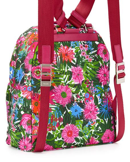 Prada Tessuto Stampato Floral Backpack, Pink Floral (Pink Dis Primule)