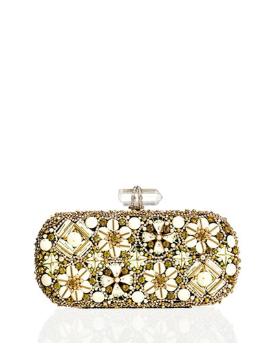 Lily Enamel & Crystal Embroidered Clutch Bag, Ivory Multi
