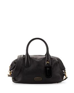 Legend Medium Leather Satchel Bag, Black