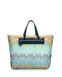 Multicolor Wave-Print Beach Tote Bag, Blue
