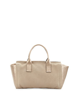 Suede/Metallic Leather Origami Tote Bag, Taupe