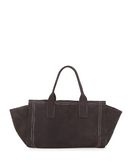 Nubuck Tote Bag w/Monili Detail, Black