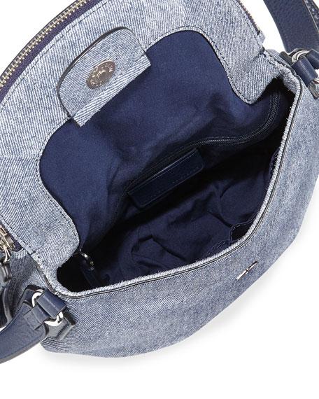 New Q Suede Denim Crossbody Bag, Navy Denim