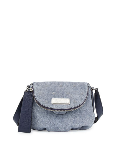 New Q Suede Denim Crossbody Bag, Navy Denim
