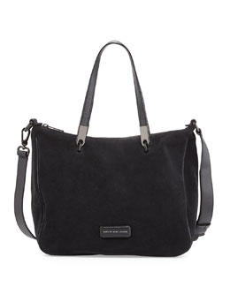 Ligero Sporty Suede Ninja Shoulder Bag, Black