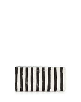 Sophisticato Painted Flower Tomoko Wallet, Black/White