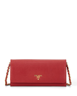 Saffiano Wallet on Chain, Red