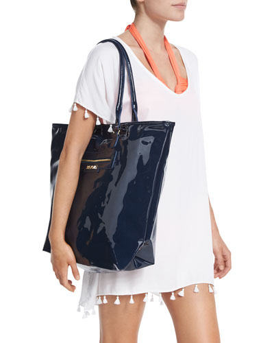 Summershine Faux-Patent Leather Tote Bag, Indigo