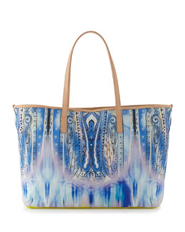 Paisley-Print Striped Canvas Tote Bag, Blue
