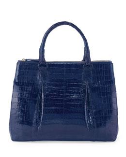 Plisse Large Crocodile Tote Bag, Electric Blue