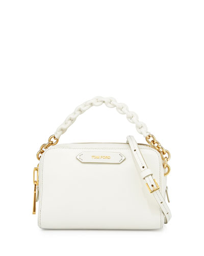 Chain-Strap Small Crossbody Bag, White