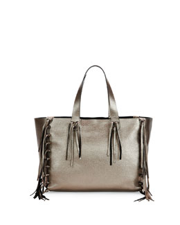 C-Rockee Fringed Metallic Tote Bag, Silver