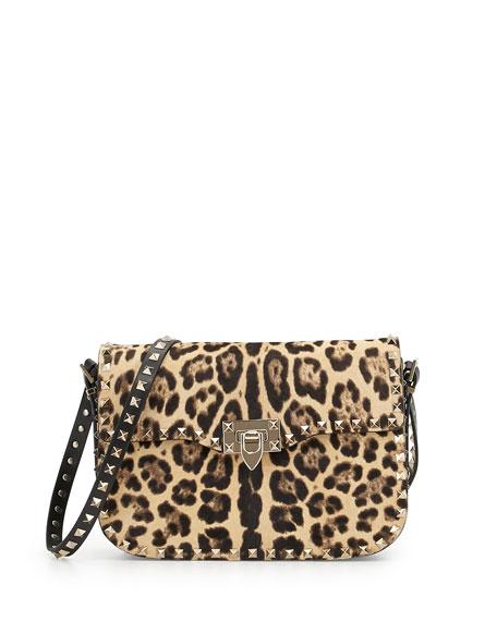 Leopard-Print Calf Hair Flap Bag