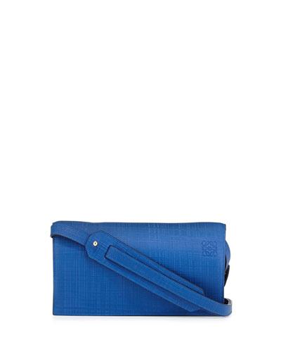 Calfskin Clutch Bag w/Shoulder Strap, Electric Blue
