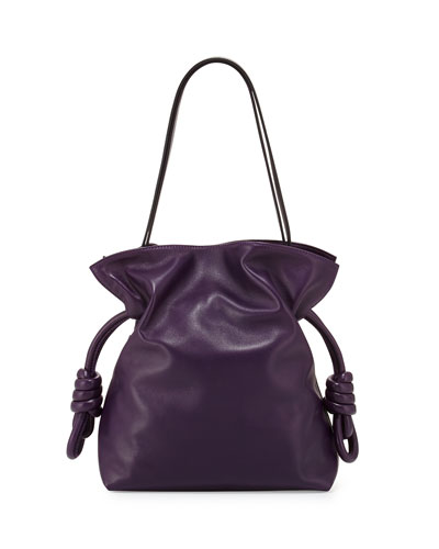 Flamenco Knot Lambskin Bucket Bag, Violet