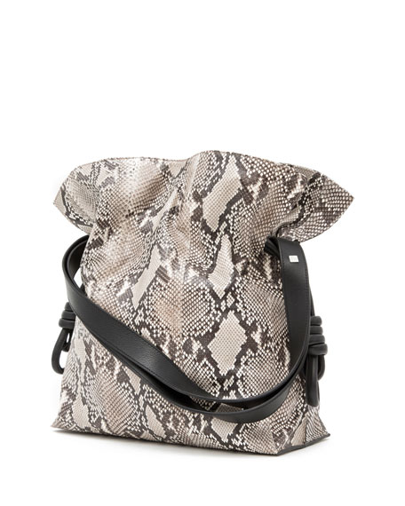 Flamenco Knot Python Bucket Bag