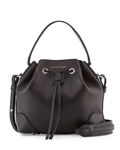 Lucrezia Waxy Leather Bucket Bag, Black