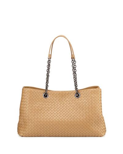 Intrecciato Double Chain Tote Bag, Camel