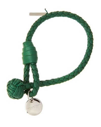 Intrecciato Single Knot Leather Bracelet, Kelly Green