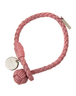 Intrecciato Single Knot Leather Bracelet, Pink