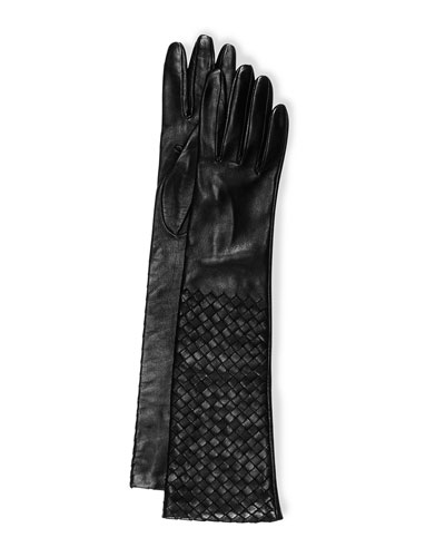 Intrecciato Napa Long Gloves, Black
