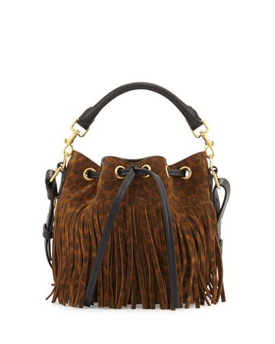 Emmanuelle Suede Leopard-Print Fringe Bucket Bag, Tan/Black