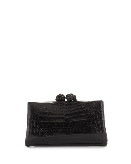 Crocodile Knot Clutch Bag w/Chain, Shiny Black