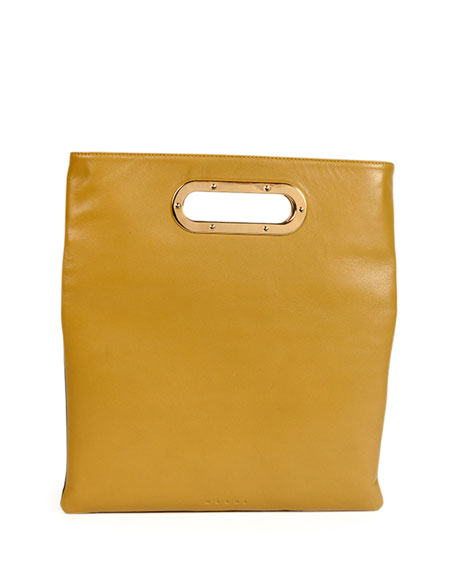 Fold-Over Tricolor Crossbody, Yellow/White/Green