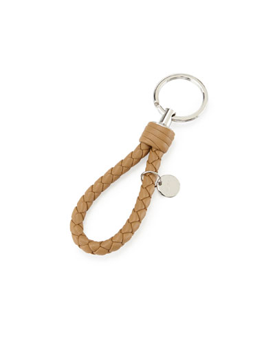 Braided Leather Loop Key Ring, Camel