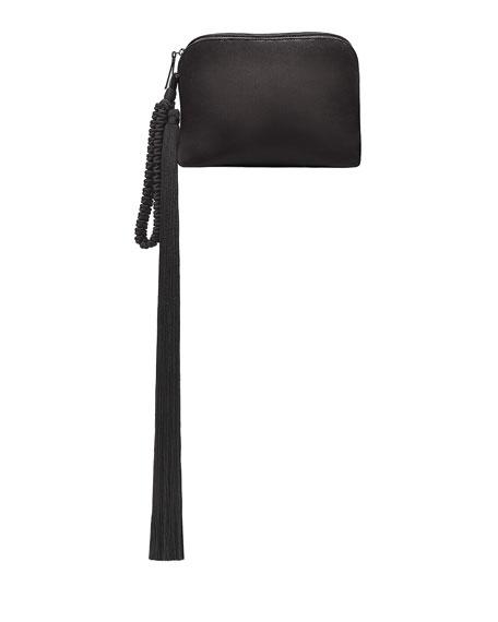 Satin Tassel Detail Wristlet, Black