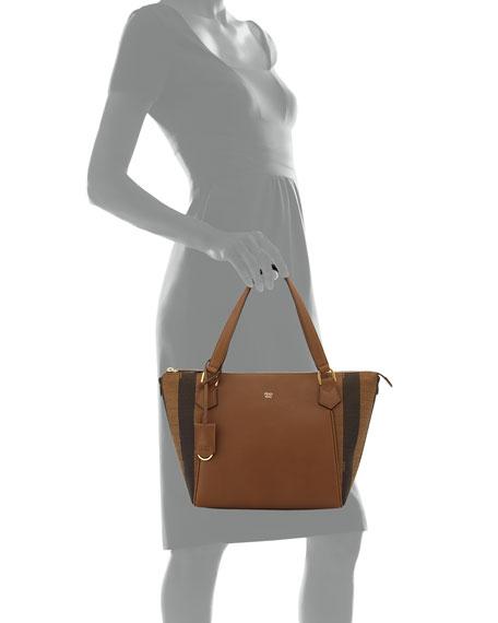 replica fendi handbags - Fendi Calfskin  u0026amp  Pequin-Stripe Canvas  Tote Bag, 0c25edb25d