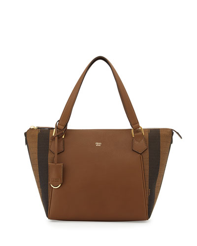 Calfskin & Pequin-Stripe Canvas Tote Bag, Tobacco