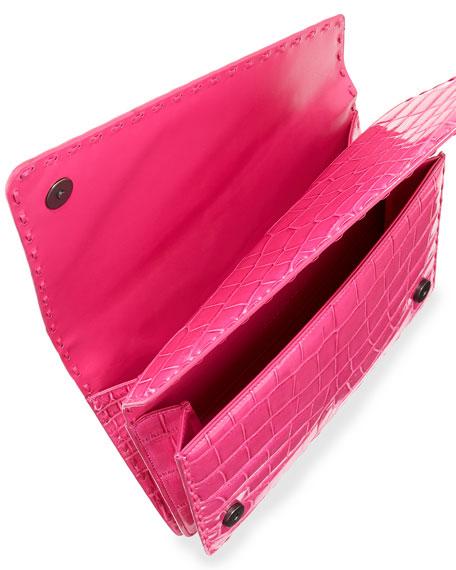 Piano Crocodile Crisscross Clutch Bag, Rosa Shock Pink