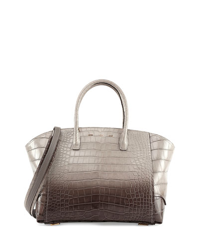 Brera 34 Alligator Satchel Bag, Gray