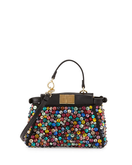 db1d3d201f5 Peekaboo Micro Embellished Satchel Bag Black/Multi
